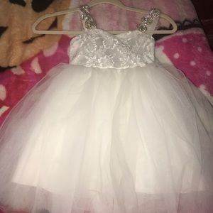 Other - Toddler girl white dress with rhinestone